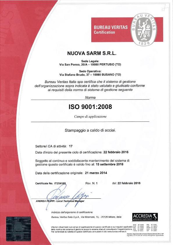 Certificazione qualità uni ISO 9001 - qualità nello stampaggio a caldo